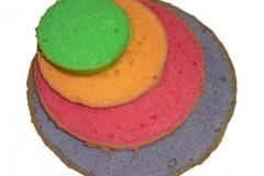 De gekleurde lagen van de K3 taart
